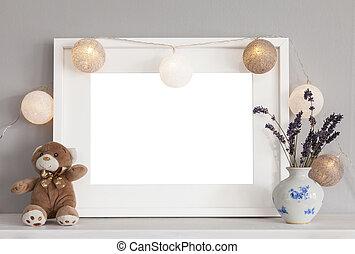 mockup, teddy, 框架, 白色