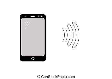 mockup, telefono., disposizione, moderno, smartphone., nero, vector.