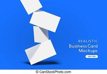 mockup, tomber, cartes, pile, business