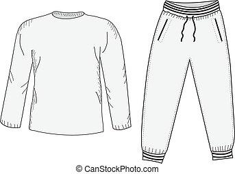 mockup, vector, sportswear., deportes, sweatpants., drawing., estilo, tracksuit, mano, cosas, set., suit., chaqueta, ilustración, bosquejo