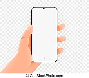 mockup, vide, vecteur, moderne, main, smartphone, tenue, screen.