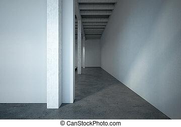 mockup wall in loft corridor