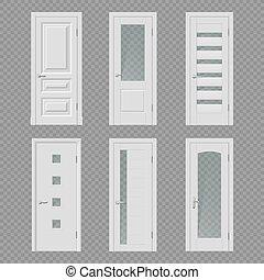 mockups, puerta, puerta, habitación, realista, interior