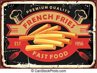mocne jadło, projektować, cyna, znak, smaży, francuski, retro, restauracja