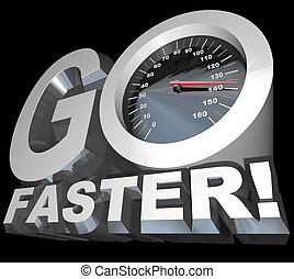 mocniejszy, pomyślny, szybkościomierz, iść, biegi, szybkość