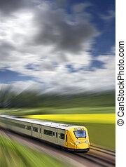 mocny, pociąg, w ruchu