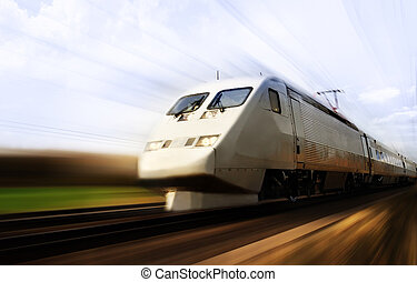 mocny, pociąg, z, plama ruchu