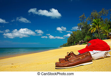 pair of moccasins are waiting for its owner on the beach