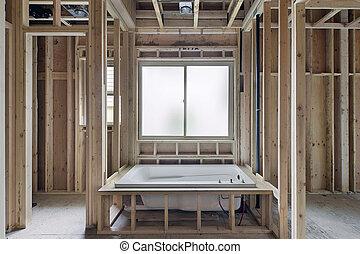 moczenie, wanna, w, nowy, zbudowanie, dom