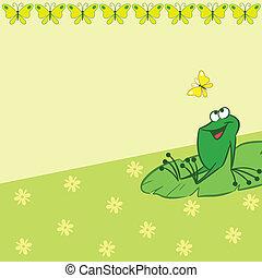 modèle, à, dessin animé, grenouille, et, butte
