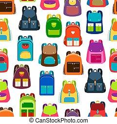 modèle, école, sacs dos, dessin animé, coloré