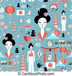 modèle, éléments, divers, japonaise