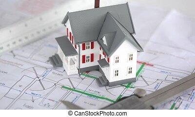 modèle, élevé, maison, plans