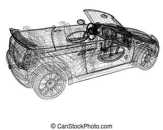 modèle, 3d, voitures