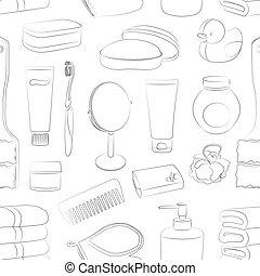 modèle, accessoires, bain