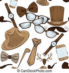 modèle, accessoires, main, hipster, seamless, dessiné