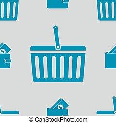 modèle, achats, seamless, icônes