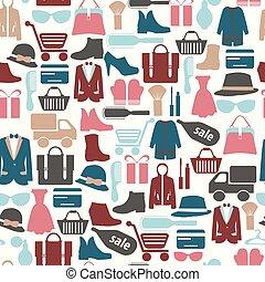 modèle, achats, seamless, icons-illustration