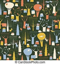 modèle, animaux, retro, tapisserie, bois, seamless, couleurs