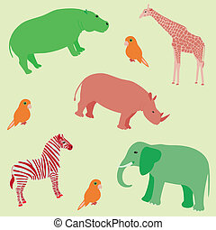 modèle, animaux, seamless, africaine