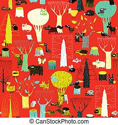 modèle, animaux, tapisserie, bois, seamless, couleurs, pop