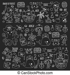 modèle, anniversaire, aventure, vecteur, icons., partie., pirate