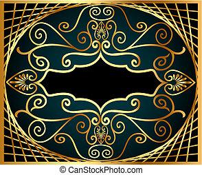 modèle, antiquité, gold(en), filet, cadre