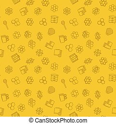 modèle, apiculteur, seamless, jaune, vecteur, fond, ou