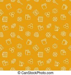 modèle, apiculture, vecteur, seamless, jaune