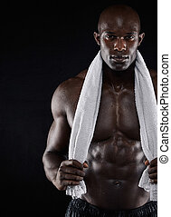 modèle, après, séance entraînement, fitness