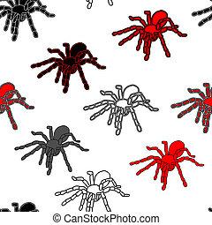 modèle, araignées, halloween, seamless, noir