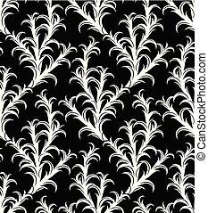modèle, arbre, seamless, noir, blanc, cactus