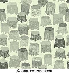 modèle, arbre, tapisserie, seamless, souche, gris