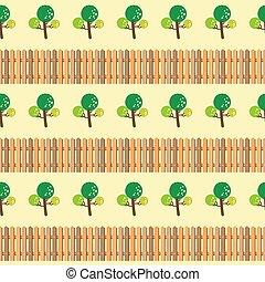 modèle, arbres, barrière, seamless