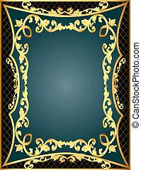 modèle, arrière-plan gris, gold(en), filet, cadre