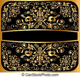 modèle, arrière-plan noir, or