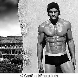 modèle, art, très, sans chemise, musculaire, rome, poser, fond, maile, portrait, noir, sexy, amende, blanc, vue