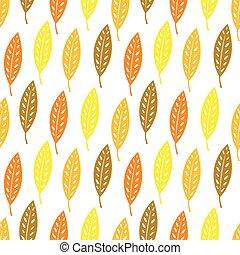 modèle, automne, arrière-plan., feuilles, seamless