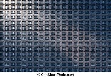 modèle, béton, gratte-ciel, architectural, façade, misérable