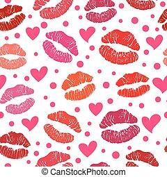 modèle, baiser, seamless, rouge lèvres, rouges