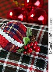 modèle, balle, décoration noël, écossais