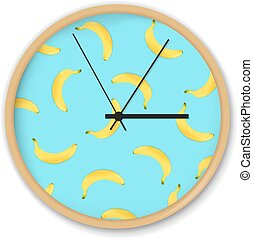 modèle, banane, horloge