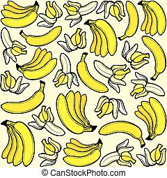 modèle, banane, seamless