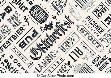 modèle, bière, main, dessiné, seamless, types, lettrage