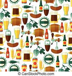 modèle, bière, objets, seamless, icônes