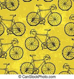 modèle, bicycles, jaune, seamless, hand-drawn, fond