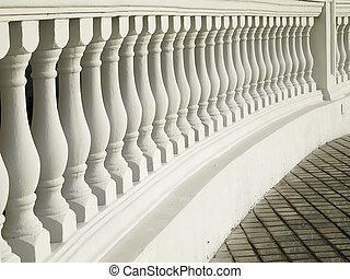 modèle, blanc, balustrade