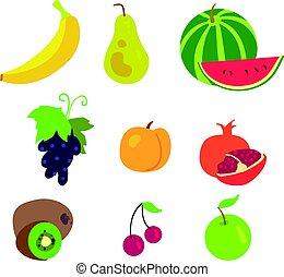 modèle, blanc, fruit, fond