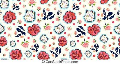 modèle, blanc, heureux, florals., chat