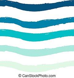 modèle, blanc, linéaire, vague bleue, seamless, conception, arrière-plan.